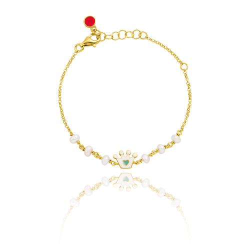Yellow gold plated sterling silver, children's bracelet, enamel crowns and pearls.