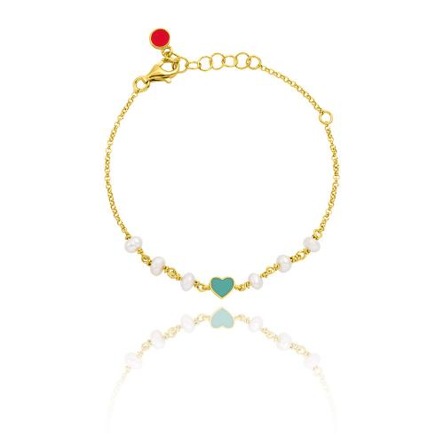 Yellow gold plated sterling silver, children's bracelet, enamel hearts and pearls.