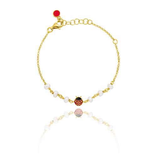 Yellow gold plated sterling silver, children's bracelet, enamel ladybug and pearls.