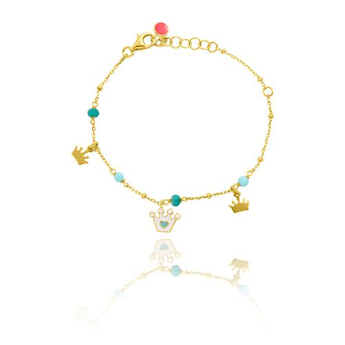 Yellow gold plated sterling silver, children's bracelet, enamel crowns and turquoise semi precious stones.
