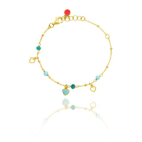 Yellow gold plated sterling silver, children's bracelet, enamel hearts and turquoise semi precious stones.