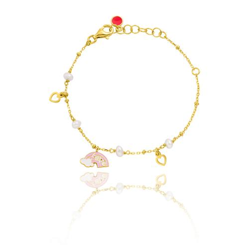 Yellow gold plated sterling silver, children's bracelet, enamel rainbow, hearts and pearls.