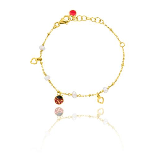 Yellow gold plated sterling silver, children's bracelet, enamel ladybug, hearts and pearls.