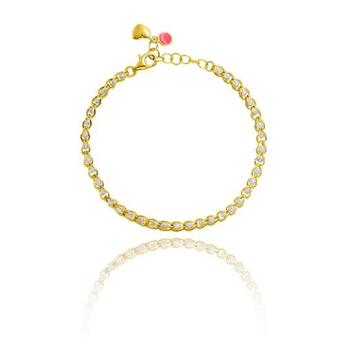 Yellow gold plated sterling silver bracelet, white semi precious stones.