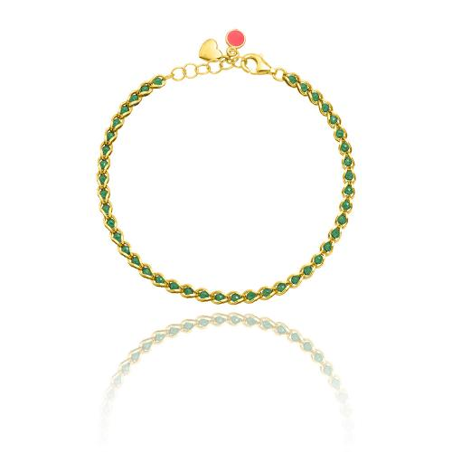 Yellow gold plated sterling silver bracelet, green semi precious stones.