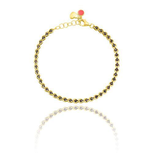 Yellow gold plated sterling silver bracelet, black semi precious stones.