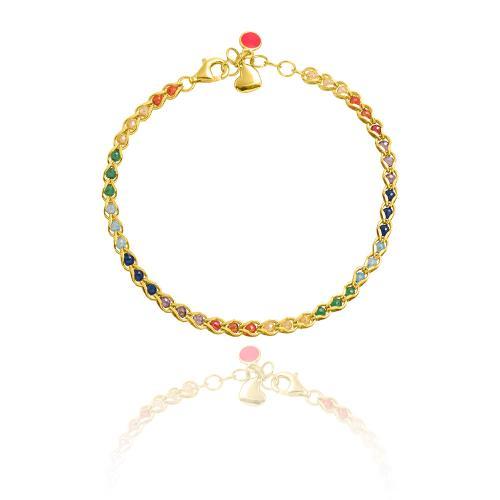 Yellow gold plated sterling silver bracelet, multicolor semi precious stones.