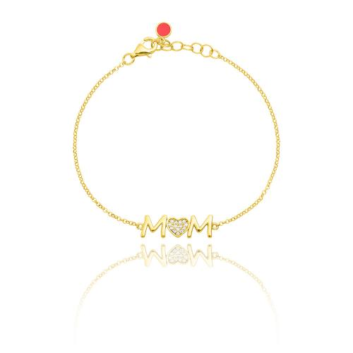 """Yellow gold plated sterling silver bracelet, """"MOM"""" and white cubic zirconia heart."""