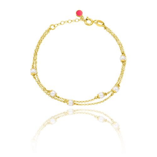 Yellow gold plated sterling silver double bracelet, pearls.