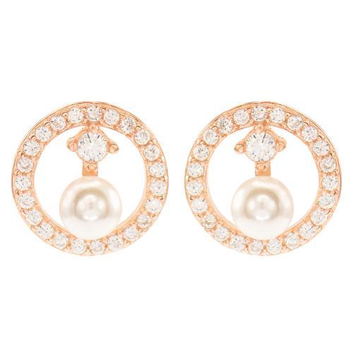 Σκουλαρίκια ροζ επιχρυσωμένο ασήμι 925, μαργαριτάρι και λευκά ζιργκόν.