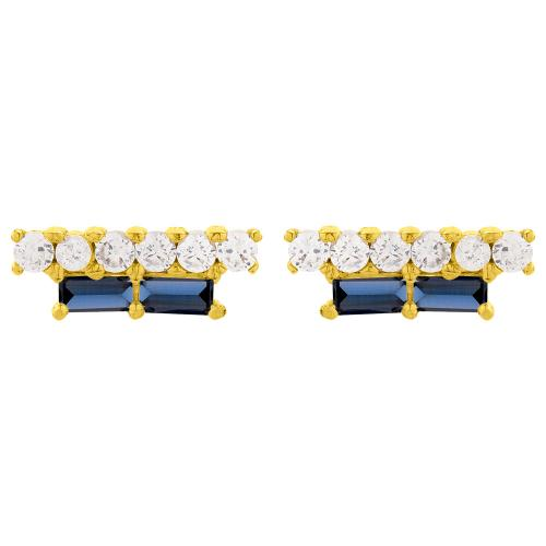 Σκουλαρίκια κίτρινο επιχρυσωμένο ασήμι 925, μπλε και λευκά ζιργκόν.
