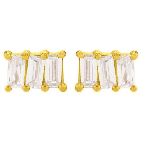 Σκουλαρίκια κίτρινο επιχρυσωμένο ασήμι 925, λευκά ζιργκόν.