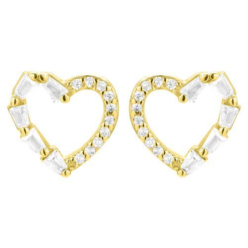 Σκουλαρίκια κίτρινο επιχρυσωμένο ασήμι ασήμι 925, καρδιά με λευκά ζιργκόν.