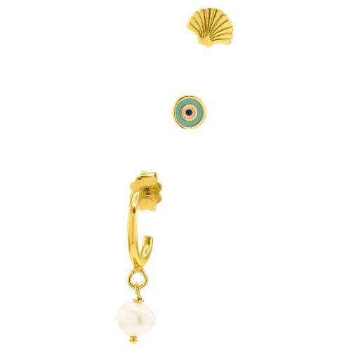 Giftbox σετ σκουλαρίκια ασήμι 925, κρίκος με λευκό ζιργκόν, μικρό και μεγάλο μονόπετρο. σκουλαρίκια κίτρινο επιχρυσωμένο ασήμι 925, κρίκος με μαργαριτάρι, κοχύλι και μάτι με τυρκουάζ σμάλτο.