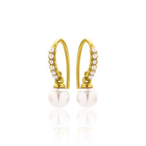 Σκουλαρίκια κίτρινο επιχρυσωμένο ασήμι 925, μαργαριτάρια.