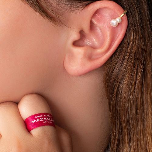 Σκουλαρίκι ear cuff κίτρινο επιχρυσωμένο ασήμι 925, μαργαριτάρια.