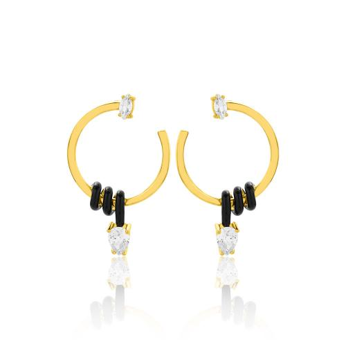 Yellow gold plated sterling silver earrings, black enamel and white cubic zirconia.