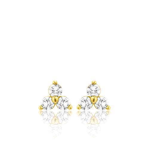 Σκουλαρίκια κίτρινο επιχρυσωμένο ασήμι 925, λουλούδι με λευκά ζιργκόν.