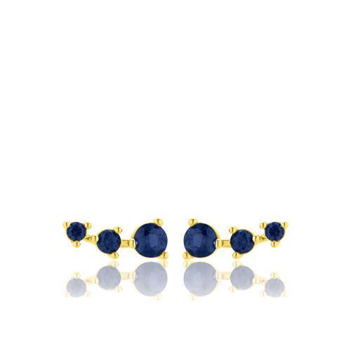 Σκουλαρίκια κίτρινο επιχρυσωμένο ασήμι 925, μπλε ζιργκόν.