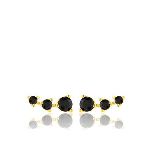Σκουλαρίκια κίτρινο επιχρυσωμένο ασήμι 925, μαύρα ζιργκόν.