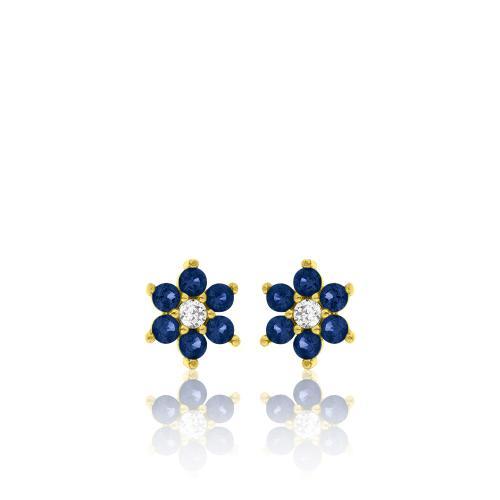 Σκουλαρίκια κίτρινο επιχρυσωμένο ασήμι 925, λουλούδι με μπλε και λευκά ζιργκόν.
