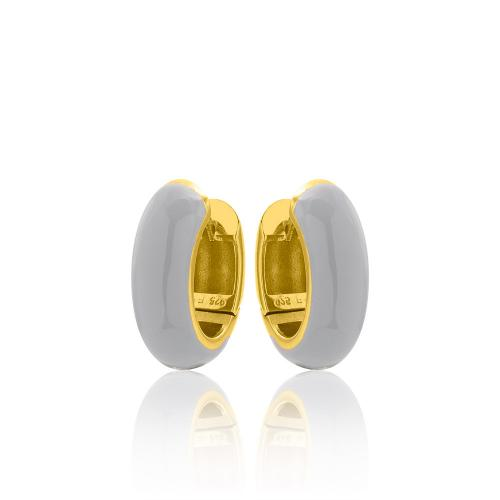 Yellow gold plated sterling silver , grey enamel hoops.
