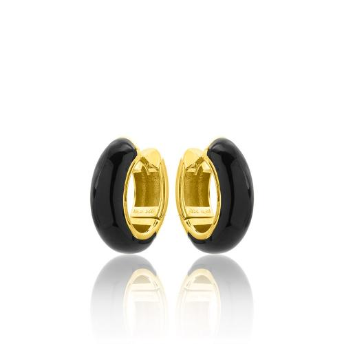 Yellow gold plated sterling silver , black enamel hoops.