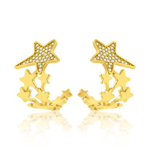 Kρίκοι κίτρινο επιχρυσωμένο ασήμι 925, αστέρια με λευκά ζιργκόν.