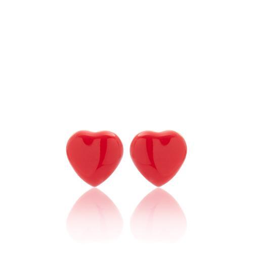 Σκουλαρίκια κίτρινο επιχρυσωμένο ασήμι 925, καρδιά με κόκκινο σμάλτο.