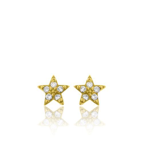Σκουλαρίκια κίτρινο επιχρυσωμένο ασήμι 925, αστέρια με λευκά ζιργκόν.