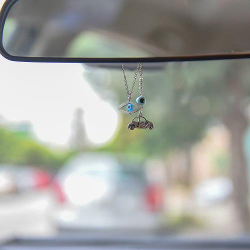 Γούρι αυτοκινήτου ασήμι 925, αυτοκίνητο και μάτι.