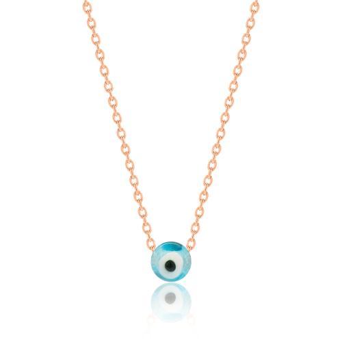 Κολιέ ροζ επιχρυσωμένο ασήμι 925, μάτι.