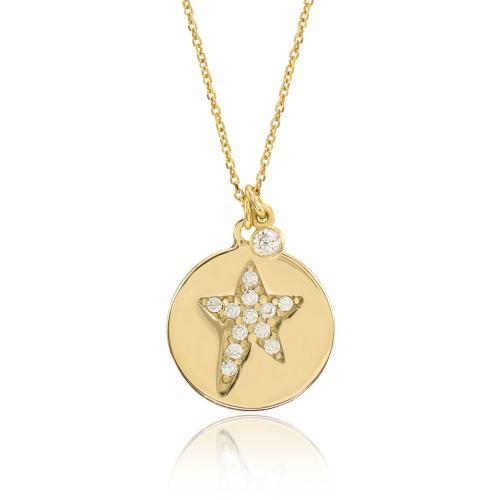Κολιέ κίτρινο επιχρυσωμένο ασήμι 925, μικρό φλουρί και αστέρι με λευκό ζιργκόν.