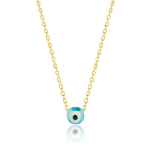 Κολιέ κίτρινο επιχρυσωμένο ασήμι 925, μάτι.