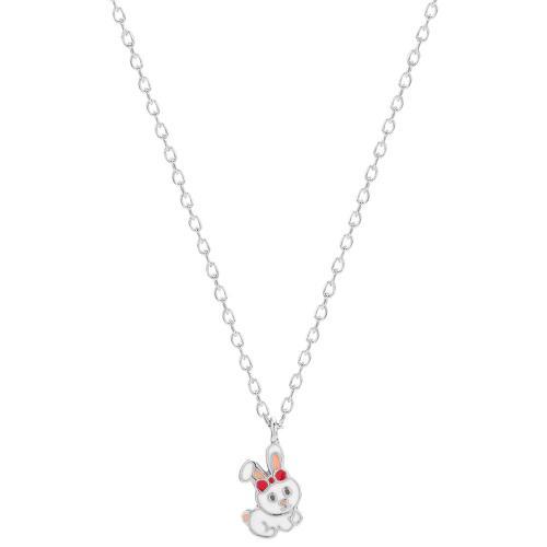 Sterling silver children's necklace, white enamel rabbit.