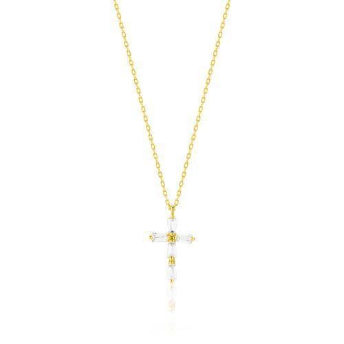 Κολιέ κίτρινο επιχρυσωμένο ασήμι 925, σταυρός με κρύσταλλα.