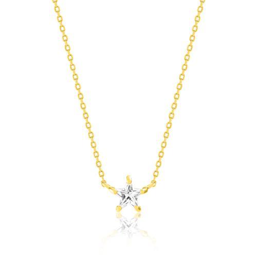 Κολιέ κίτρινο επιχρυσωμένο ασήμι 925, αστέρι με λευκό μονόπετρο.