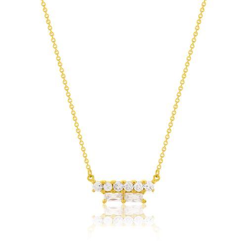 Κολιέ κίτρινο επιχρυσωμένο ασήμι 925, λευκά ζιργκόν.