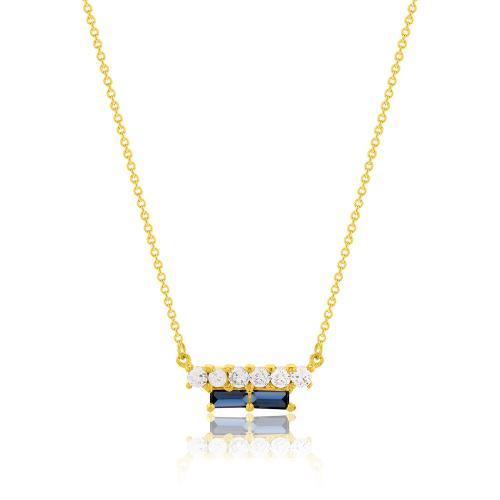 Κολιέ κίτρινο επιχρυσωμένο ασήμι 925, μπλε και λευκά ζιργκόν.