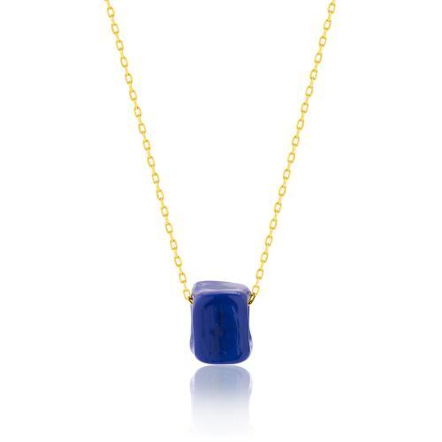 Κολιέ κίτρινο επιχρυσωμένο ασήμι 925, μπλε πέτρα από γυαλί Μουράνο.