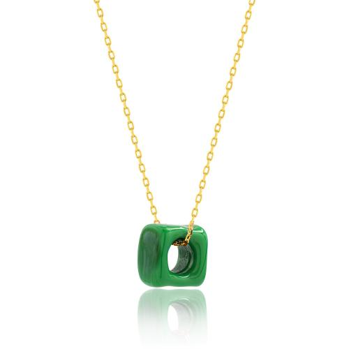 Κολιέ κίτρινο επιχρυσωμένο ασήμι 925, πράσινη πέτρα από γυαλί Μουράνο.