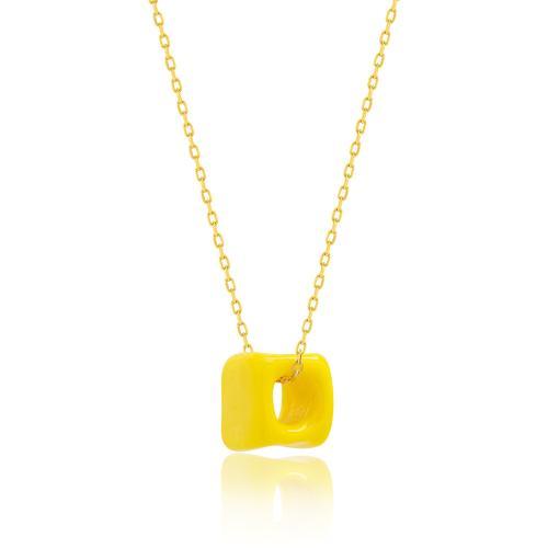 Κολιέ κίτρινο επιχρυσωμένο ασήμι 925, κίτρινη πέτρα από γυαλί Μουράνο.
