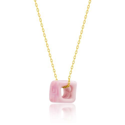 Κολιέ κίτρινο επιχρυσωμένο ασήμι 925, ροζ πέτρα από γυαλί Μουράνο.