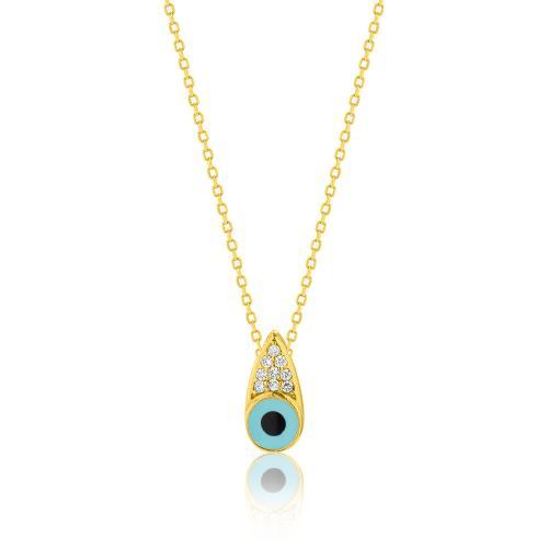Κολιέ κίτρινο επιχρυσωμένο ασήμι 925, μάτι με τυρκουάζ σμάλτο και λευκά ζιργκόν.