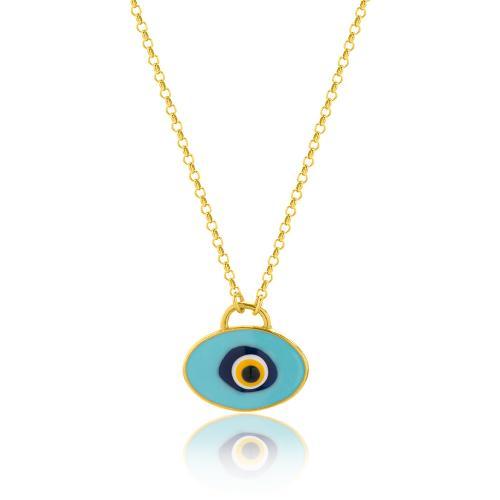 Κολιέ κίτρινο επιχρυσωμένο ασήμι 925, μάτι με τυρκουάζ σμάλτο.