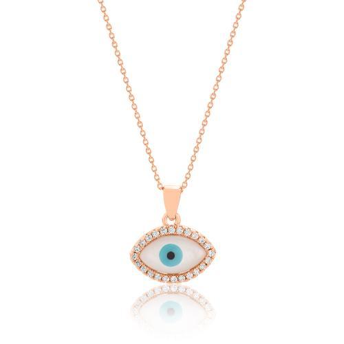 Κολιέ ροζ επιχρυσωμένο ασήμι 925, μάτι με λευκά ζιργκόν.