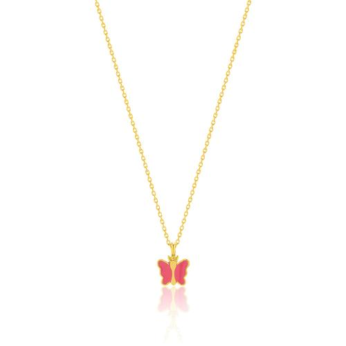 """Yellow gold plated sterling silver children""""s necklace, pink enamel butterfly."""