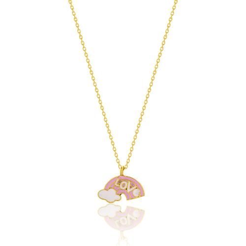"""Yellow gold plated sterling silver children""""s necklace, pink enamel rainbow."""