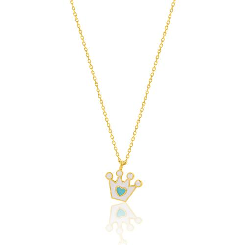 """Yellow gold plated sterling silver children""""s necklace, white enamel crown."""