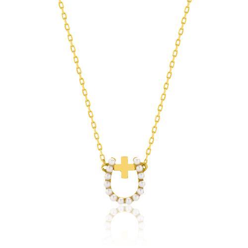Κολιέ κίτρινο επιχρυσωμένο ασήμι 925, πέταλο με σταυρό και μαργαριτάρια.